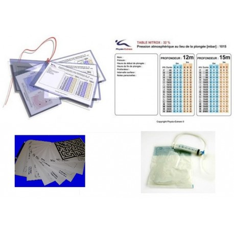 Pack indispensable tables imc, poche d'hydratation kit narcose.
